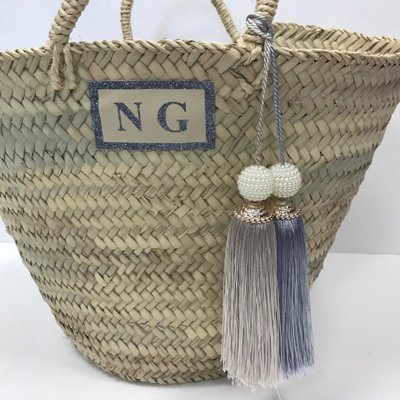 image 2 of Personalised Giant Tassel Basket silver and gold