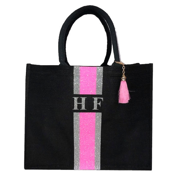 image 2 of GLITTER Personalised Tote Bag Black  - Large