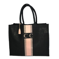 image 1 of LIMITED EDITION Peach and Rose Gold Glitter tote bag BLACK