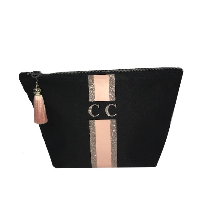image 1 of LIMITED EDITION Peach and Rose Gold Glitter make up bag BLACK