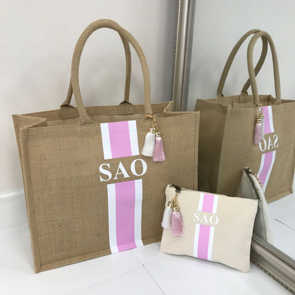 image 1 of Personalised Gift Set Tote Bag Large and Medium Clutch Bag