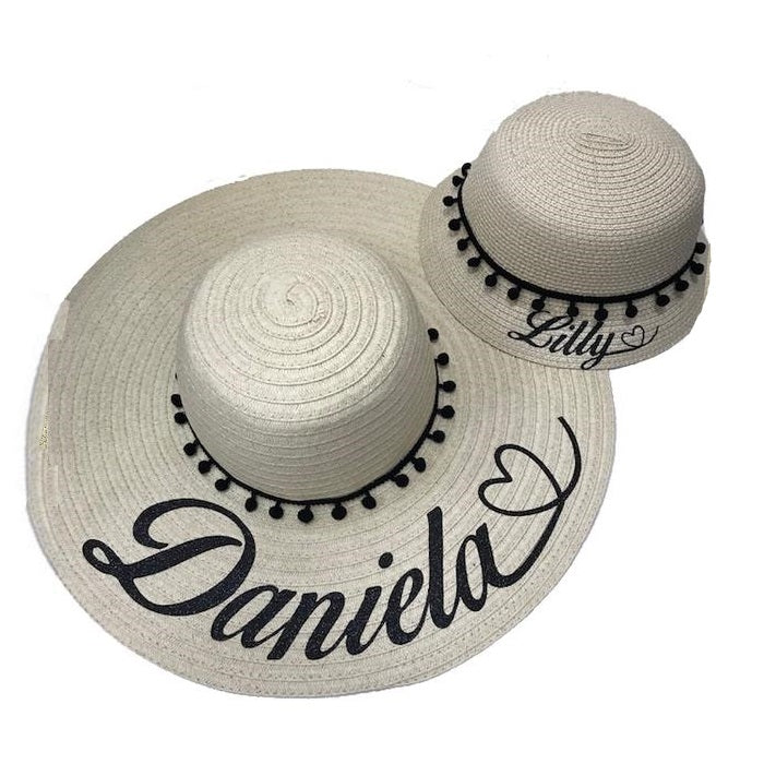 GLITTER Personalised Heart Pom Pom Beach Hat SET