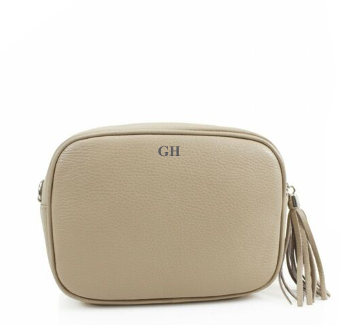 Leather Crossbody Bag - Beige