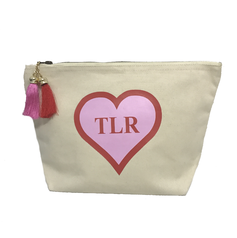 image 1 of Personalised HEART Make Up Bag - Large