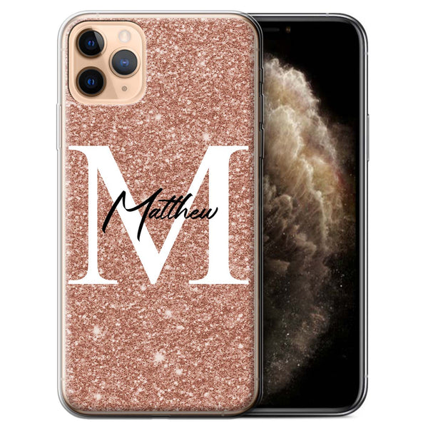 Personalised Phone Case Full Glitter Initial - Rose Gold