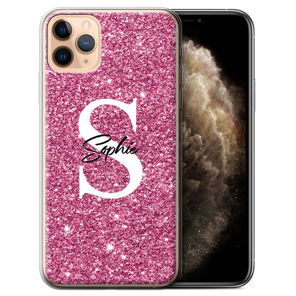 Personalised Phone Case Full Glitter Initial - Pink