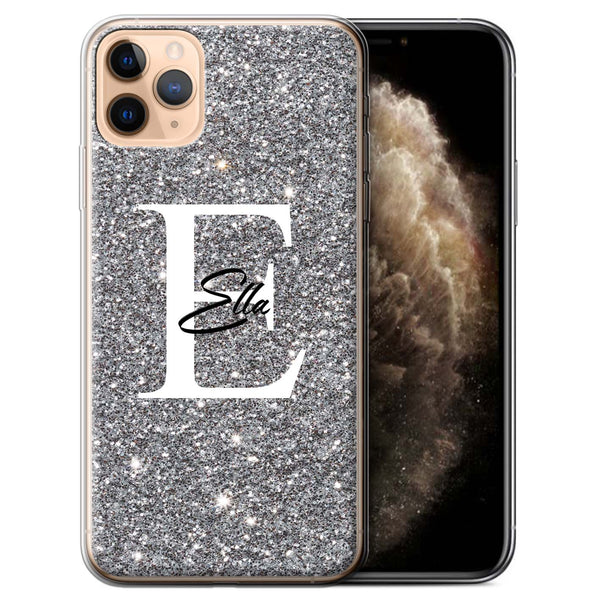 Personalised Phone Case Full Glitter Initial - Silver