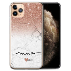 Personalised Phone Case Handwriting Glitter Initial - Rose Gold