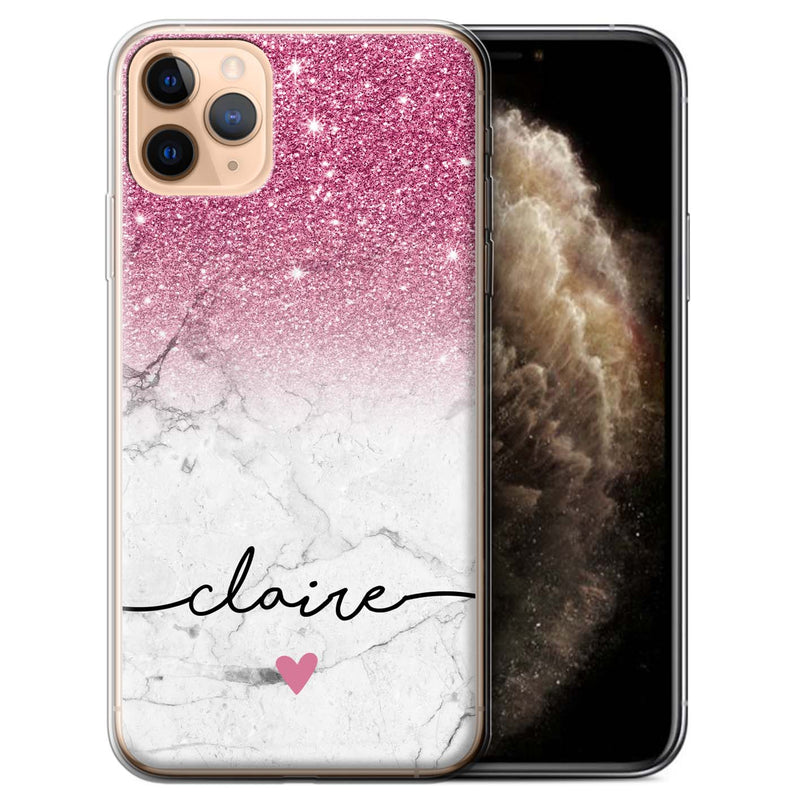 Personalised Phone Case Handwriting Glitter Initial - Pink