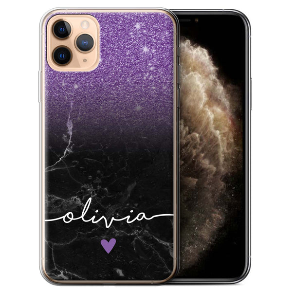 Personalised Phone Case Handwriting Glitter- Purple/Black