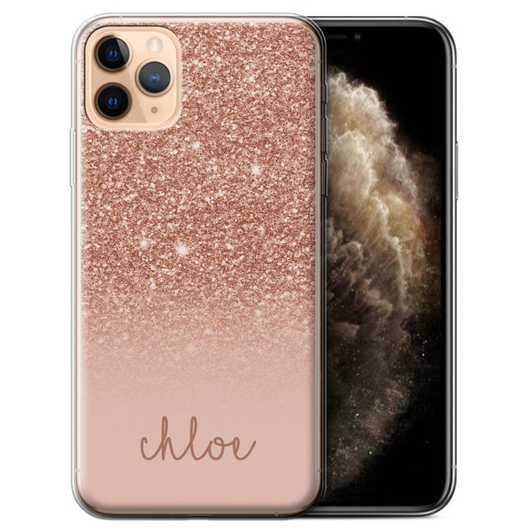 Personalised Phone Case Handwriting Name - Rose Glitter