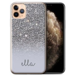 Personalised Phone Case Handwriting Name - Silver Glitter