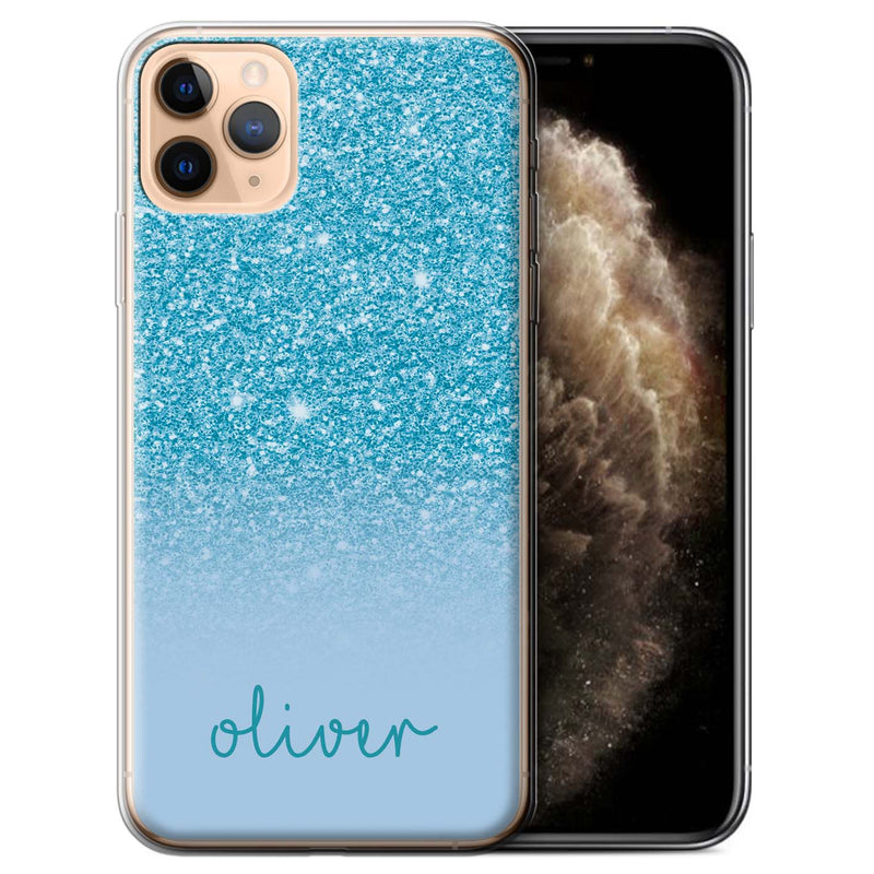 Personalised Phone Case Handwriting Name - Blue Glitter