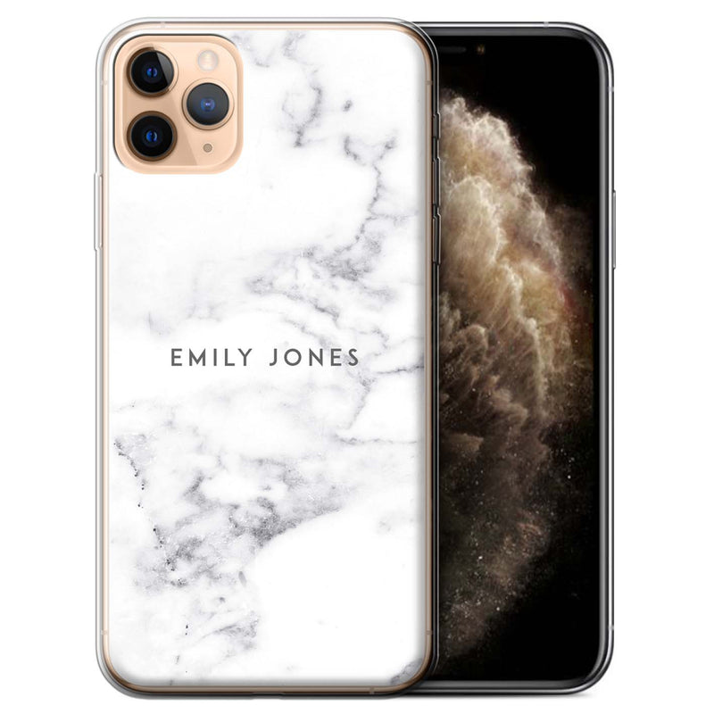Personalised Phone Case Marble - White