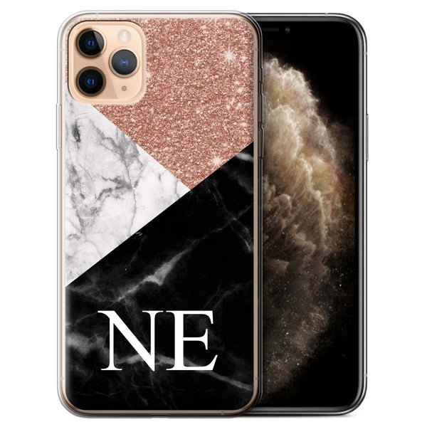 Personalised Phone Case Marble Trio - Rose Gold