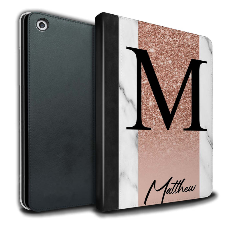 Personalised iPad Case Glitter Initial - Rose Gold