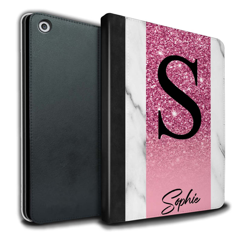 Personalised iPad Case Glitter Initial - Pink