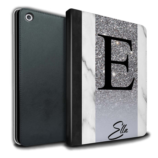 Personalised iPad Case Glitter Initial - Silver