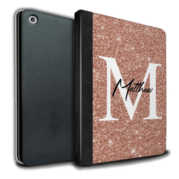 Personalised iPad Case Full Glitter Initial - Rose Gold