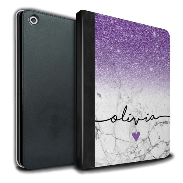 Personalised iPad Case Handwriting Glitter Initial - Purple