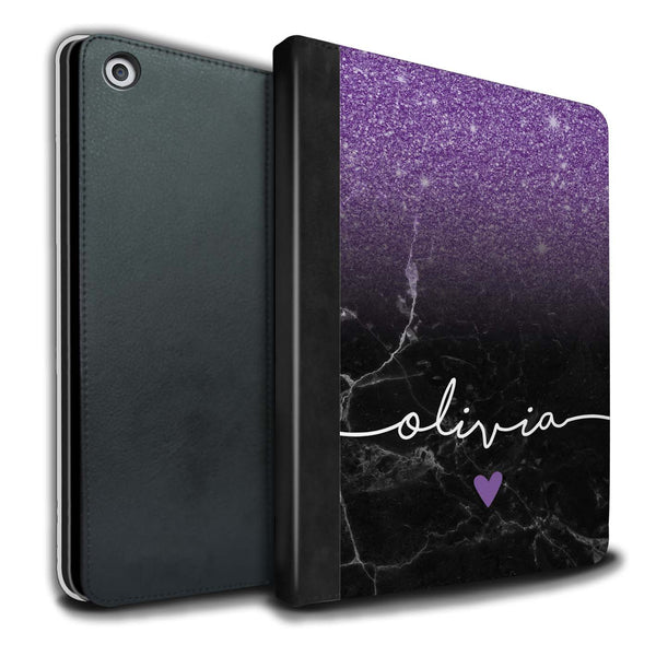 Personalised iPad Case Handwriting Glitter- Purple/Black
