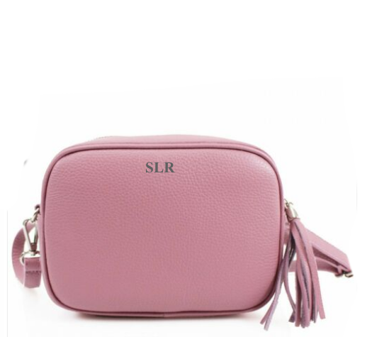 Leather Crossbody Bag - Pink
