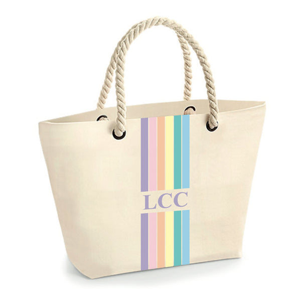 image 1 of Rainbow Rope Personalised Tote Bag