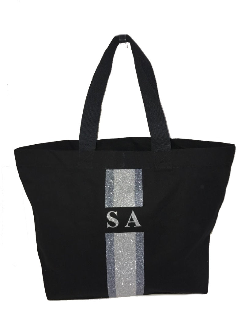 image 1 of GLITTER Personalised Canvas Bag - Black