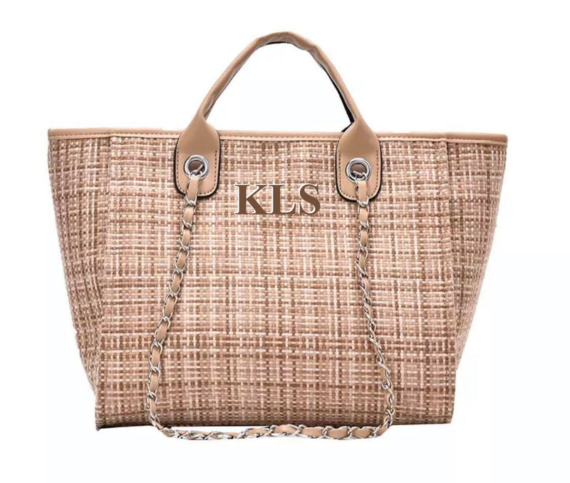 Tweed Chanella Chain Bag Initials - Beige