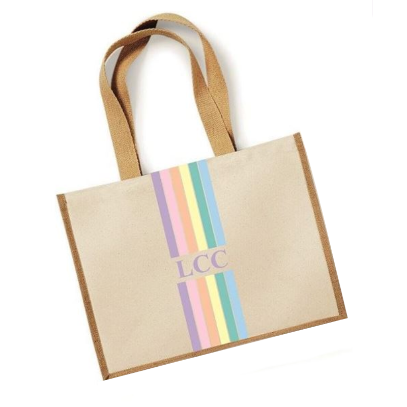 image 1 of Rainbow Large Canvas Personalised Tote Bag