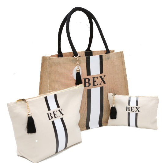 image 1 of Personalised Gift Set Tote Bag Large Make Up Bag and Medium Clutch