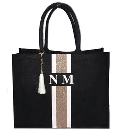 image 1 of GLITTER Personalised Tote Bag Black  - Large