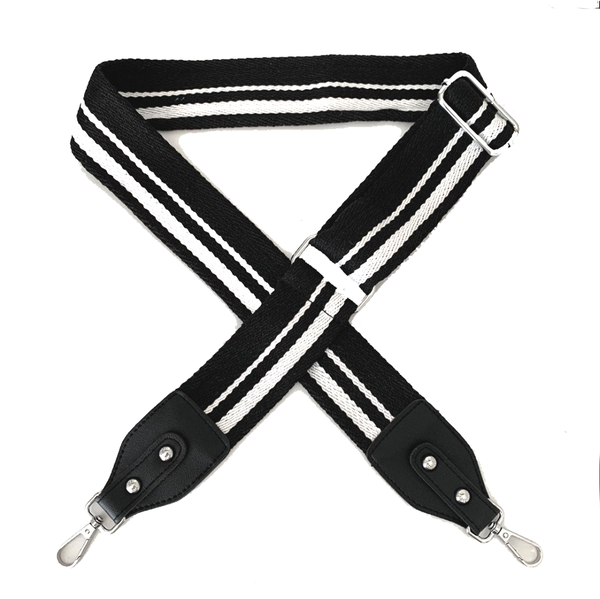 Black and White Crossbody Bag Strap