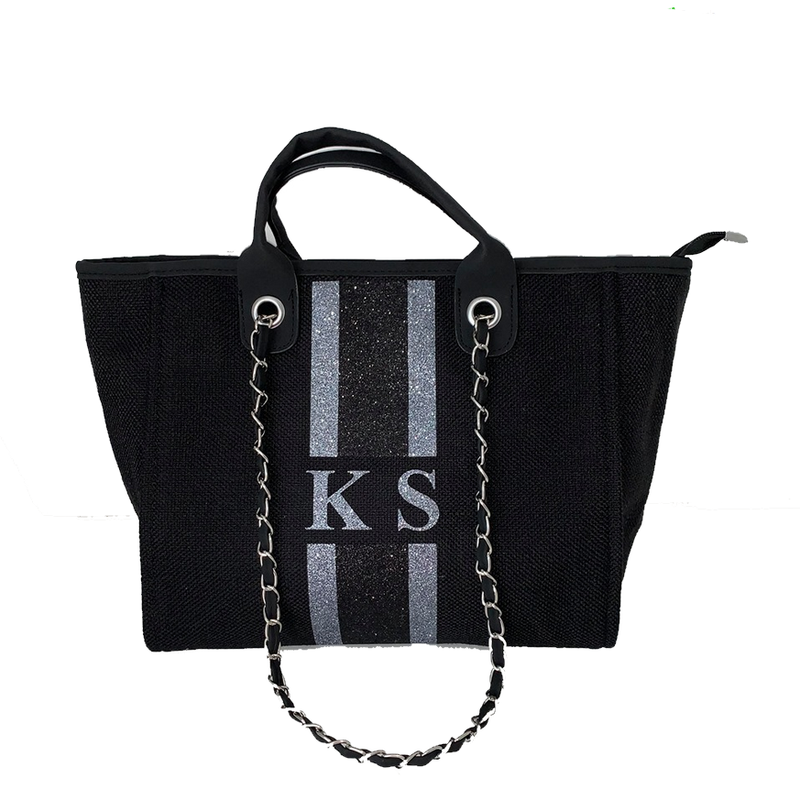 Chanella Chain Bag - Glitter Black/Grey