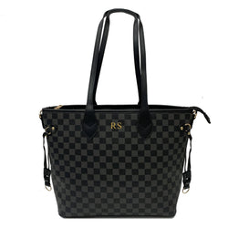 Personalised Initial Checkered Tote Bag - Black