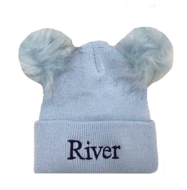 image 1 of Personalised Pom Pom Hat - Blue