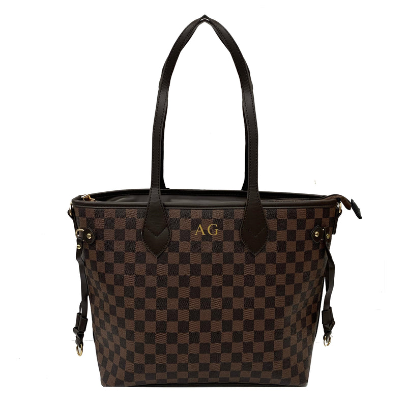 Personalised Initial Checkered Tote Bag - Brown