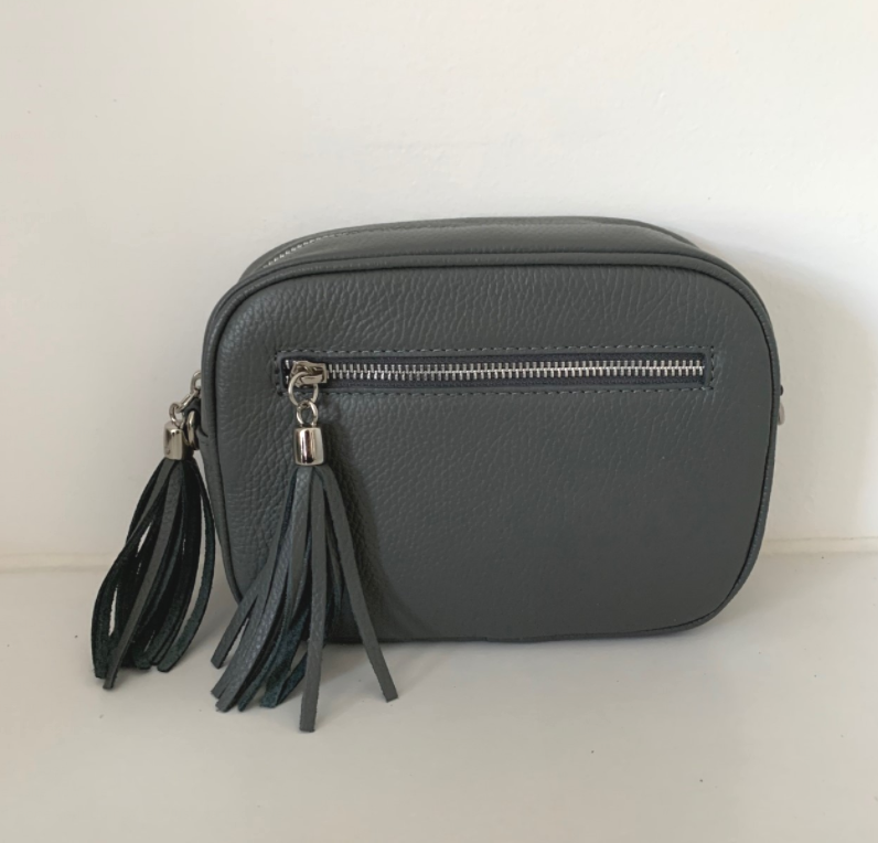 Leather Crossbody Bag - Dark Grey