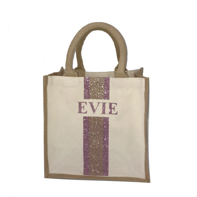 image 1 of Children's Medium GLITTER Personalised Canvas Bag