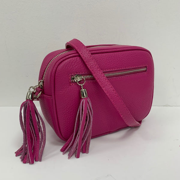 Leather Crossbody Bag - Fuchsia