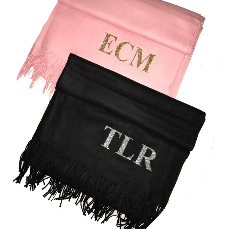 image 1 of GLITTER Personalised Initial Scarf