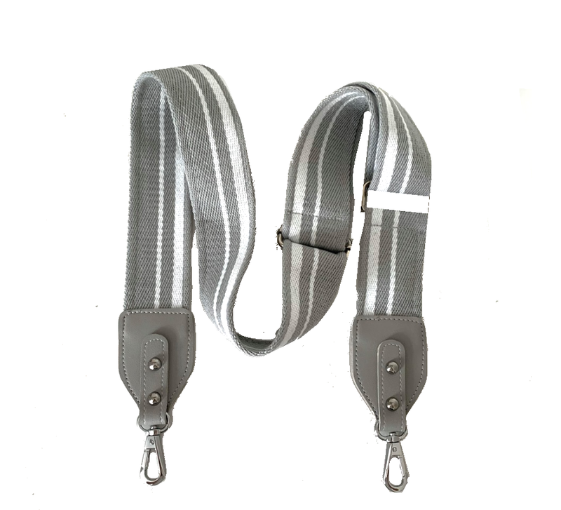 Grey and White Crossbody Bag Strap