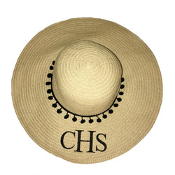 image 1 of Personalised Large Pom Pom Beach Hat