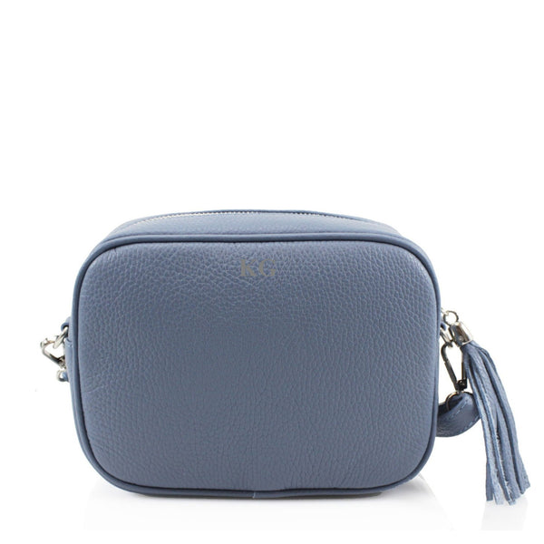 Leather Crossbody Bag - Denim Blue