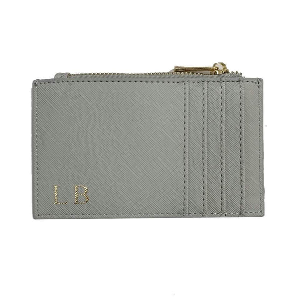 Zip Personalised Card Holder - Grey