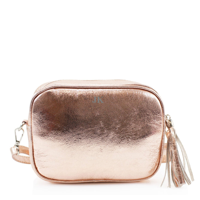 Leather Crossbody Bag - Rose Gold
