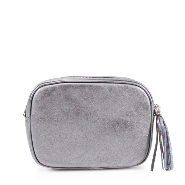 Leather Crossbody Bag - Dark Silver