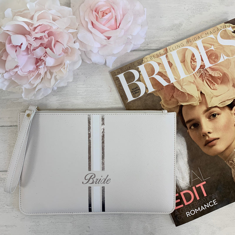 White Boutique Clutch Bag - Silver/White