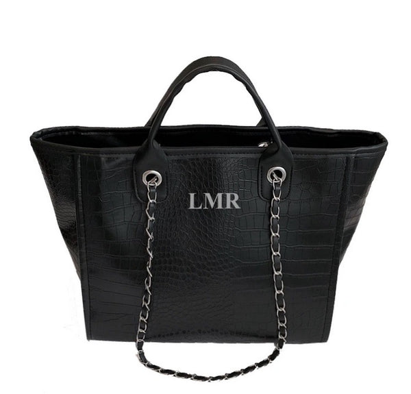Chanella Chain Bag - Croc Black