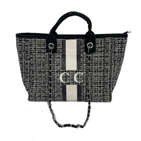 Tweed Chanella Chain Bag - Black
